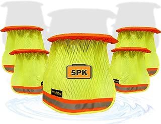 KwikSafety (Charlotte, NC) VADER (5 Pack) DURABLE ELASTIC Hard Hat Sun Shade High Visibility Cooling Mesh Contrasting Reflective Strip Regular Brim Neck Protection Construction Helmet Sun Shield