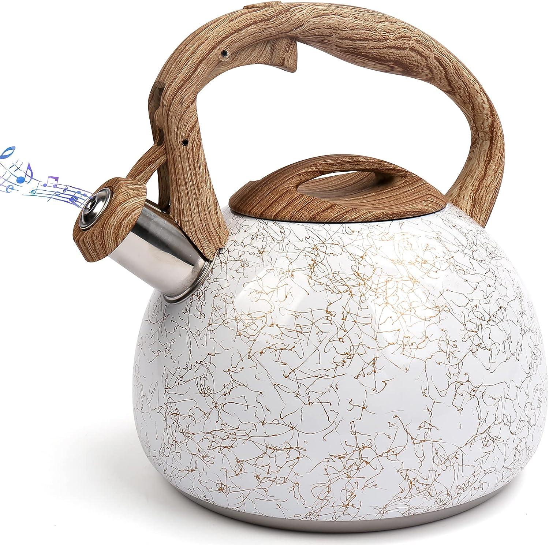 Freehawk Tea Kettle 2.8 Liter Modern Max 79% Fees free!! OFF Stainless Whistling Teapot