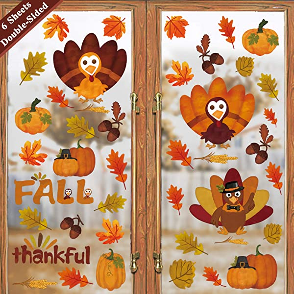 Ivenf Thanksgiving Decorations Window Clings Decor Extra Large Autumn Fall Leaves Turkey Pumpkin Decal Kids School Home Office Party Supplies Gifts 6 Sheet 80 Pcs