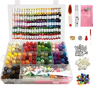 Upgrades 229PCS Embroidery Floss Thread with Organizer Storage Box Cross Stitch Thread Kit with Tools,100 Unique Colors Craft Floss,Beads,Shells and Friendship Bracelets Floss String Making