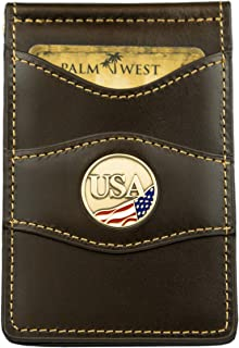 Palm West Color USA Medallion Slim Wallet with durability style and RFID protection (Chocolate Brown)