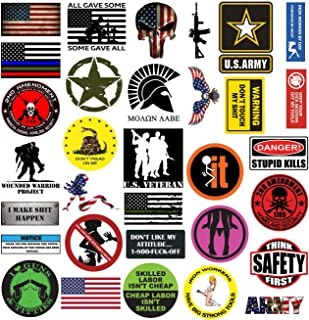 TreeArm Hard Hat Stickers Set of 32 Funny Water Proof Laminated Helmet Sticker And Decals With American Flag For Hard Hats Construction Helmet And Tool Box 2.5-3.5 Inch Size