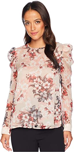 Petite Puff Shoulder Long Sleeve Timeless Blooms Floral Blouse