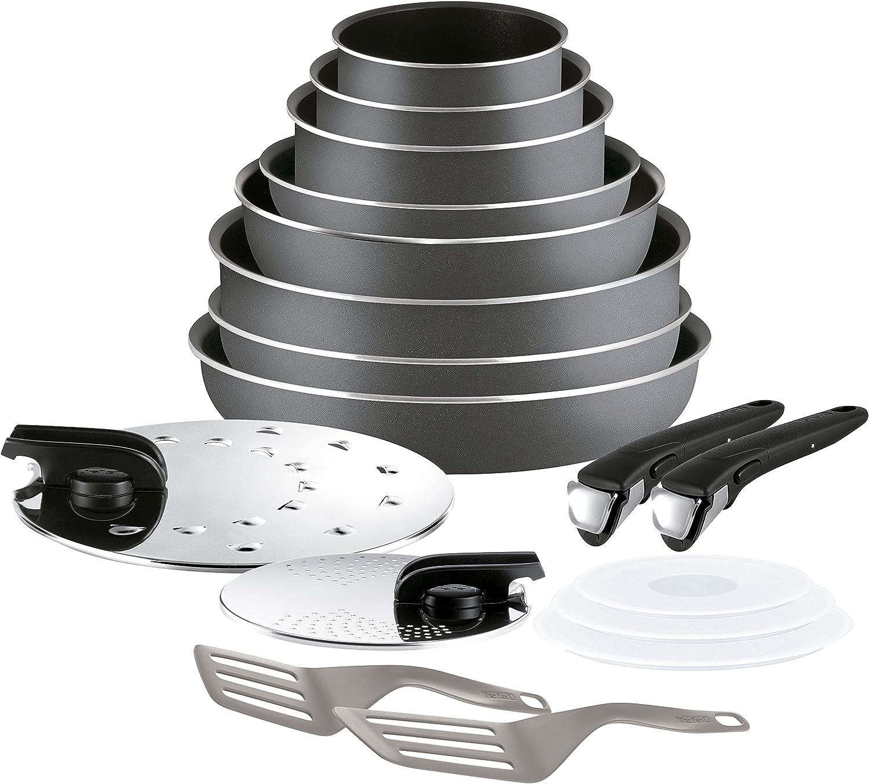 Tefal Ingenio Essential - Juego de 4 Sartenes, 3 Cazos + Mango extraíble: Sartenes de 22/26/28 cm + Wok 24 cm, Cazo de 16 cm, Cacerolas de 18/20 cm, 2 tapas y mangos
