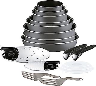 Tefal Ingenio Essential Batterie de Cuisine 17 pièces, 3 casseroles, 3 poêles, 1 poêle Wok, 1 sauteuse, 2 poignées, 7 acce...