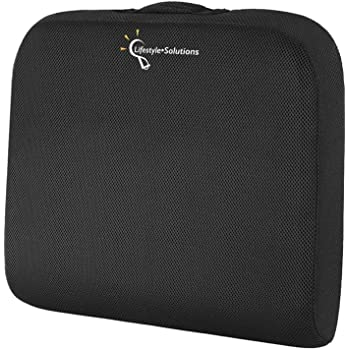 Lifestyle-Solutions Large Seat Cushion with Carry Handle and Anti Slip Bottom, Memory Foam Seat Cushion for Office Chair, Wheelchairs, Truck Drivers, Gives Relief from Back and Coccyx Pain