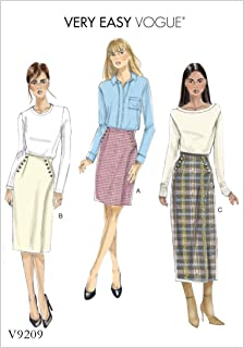 Vogue Patterns V9209A50 Learn Button Wrap Skirt Sewing Pattern for Women, Sizes 6-14