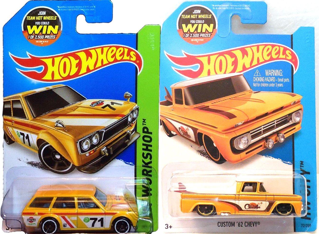 Summer Yellow Hot Wheels Truck & Wagon Set - Datsun Bluebird 510 & Custom '62 Chevy Hot Wheels HW City Garage Surf Shop Patrol 2015 IN PROTECTIVE CASES