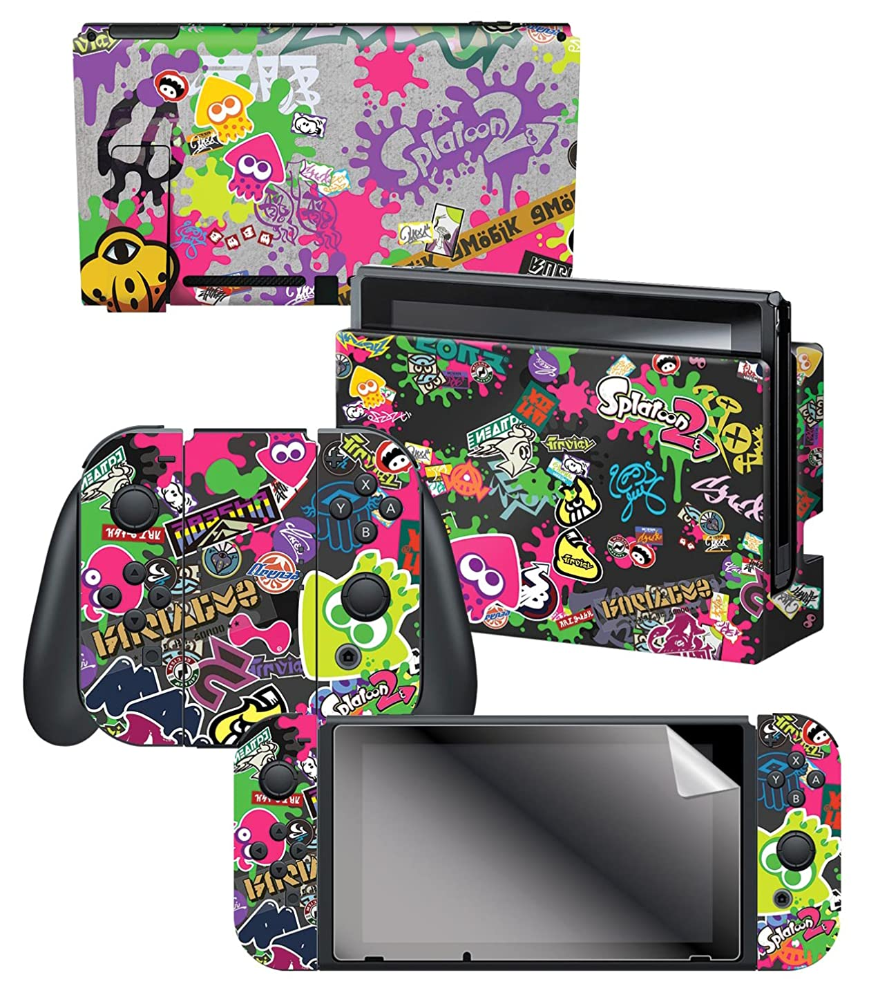 Controller Gear Nintendo Switch Skin & Screen Protector Set, Officially Licensed By Nintendo - Splatoon 2