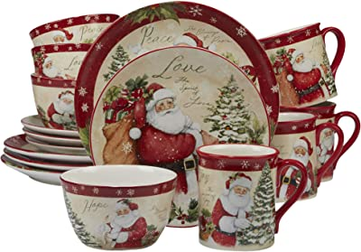 Certified International 89127 Holiday Wishes 16 piece Dinnerware Set, Set of 4 One Size Mulicolored