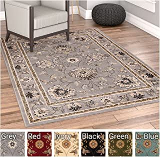 Sultan Sarouk Grey Oriental Area Rug Persian Floral Formal Traditional Area Rug 8' x 11' Easy Clean Stain Fade Resistant Shed Free Modern Classic Contemporary Thick Soft Plush Living Dining Room Rug
