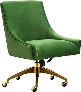 TOV Furniture Beatrix Modern Upholstered Home Office Swivel Chair, Green