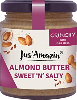 Jus Amazin Crunchy Almond Butter – with Crunchy Flaxseeds (200g) | 22% Protein | Plant-Based Nutrition | 86% Almonds | Ric...