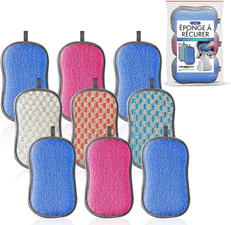 Estropajo Cocina Lavable 9 Unidades - 3 Colores   Estropajo Ecologico Microfibra