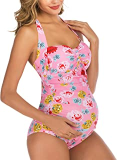 Maternity Swimwear One Piece Halter Pregnancy Swimsuit Floral Printing Bathing Suit with Adjustable Chest Drawstring