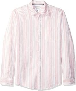 Amazon Essentials Men's Regular-Fit Long-Sleeve Linen Cotton Pattern Shirt