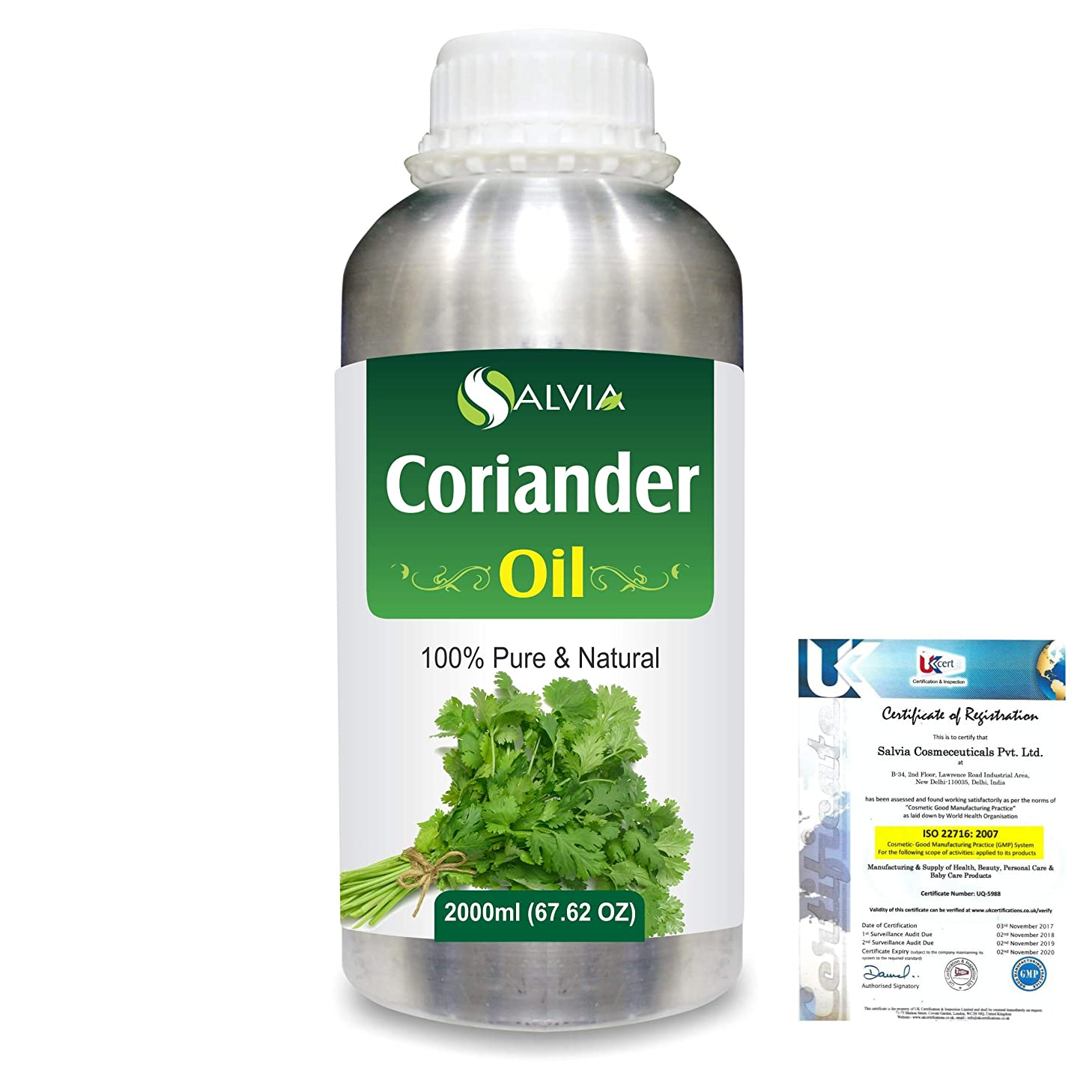 苦しみコミュニティ原因Coriander (Coriandrum sativum) 100% Natural Pure Essential Oil 2000ml/67 fl.oz.
