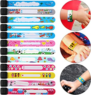 24 Pieces Child ID Safety Wristband Waterproof ID Bracelets Reusable Safety Bracelet for Kids Outdoor Activity Supplies, 12 Styles