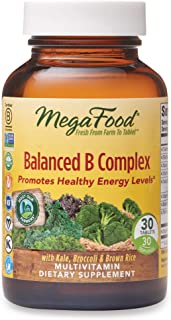 MegaFood, Balanced B Complex, Promotes Healthy Energy Levels, Multivitamin Dietary Supplement, Gluten Free, Vegan, 30 Tablets