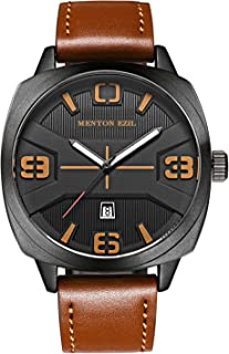 Menton Ezil Mens Watches Sapphire Crystal Leather Band 30M Waterproof Classic Dress Analog Quartz Wrist Watch with Date