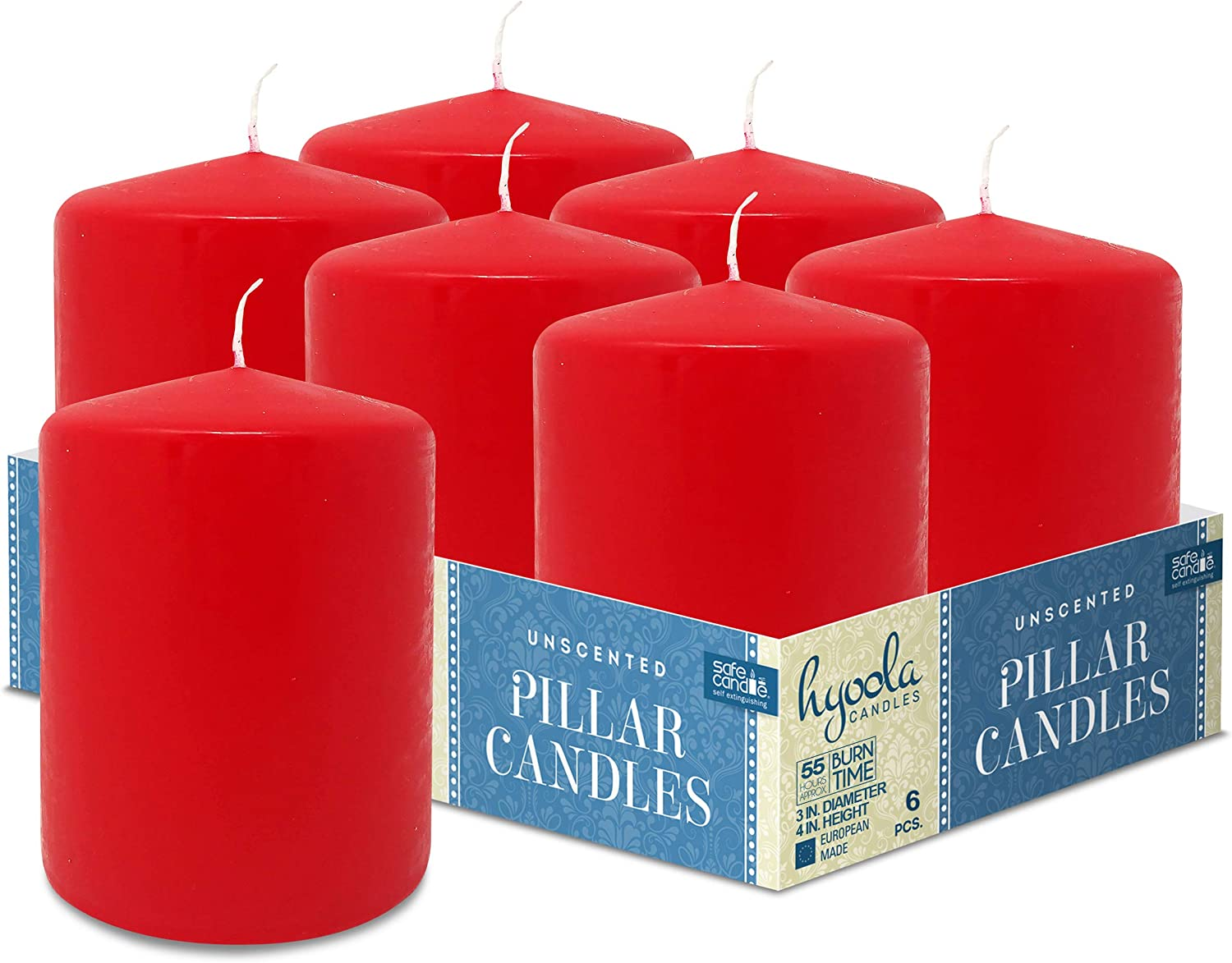 Hyoola Red Mail order Pillar Candles Inch - Unscented 3x4 Price reduction