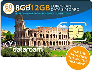 dataroam Prepaid 4G Europe Data SIM Card - Europe 8GB Bundle - 36 Countries - 3-in-1 SIM - Cellhire