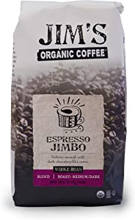 Sponsored Ad - Jim's Organic Coffee Espresso Jimbo, Medium Dark Roast, Whole Bean, 11 Ounce