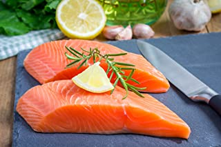 5 X 6 Oz. (1.88 Lb.) Premium Fresh Atlantic Salmon Fillets, Skinless, Individually Vacuum Packed, Ready to Cook.