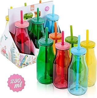 6 botellas de cristal reutilizables de 230 ml con tapas y pajitas, 6 unidades Colores