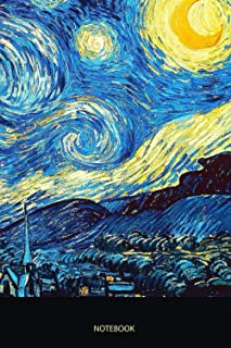 The Starry Night Oil Painting Frame, Vincent van Gogh Painter Journal Notebook Paperback Souvenir Diary: 100 Blank Ruled P...