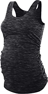 Maternity Scoop Neck Side Ruched Racerback Tank Tops...