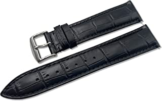 Top Grain Leather 16mm 18mm 19mm 20mm 21mm 22mm 24mm Men's Watch bands - Quick Release Strap with Stainless Steel Buckle for Women - Waterproof Calf Leather (A220 Black, 22mm)
