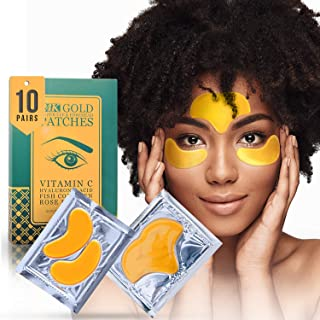 24K Gold Collagen Under Eye and Forehead Patches - Under Eye Mask for Dark Circles Bags Treatment - Dermatologist Approved - No Parabens, Natural, No Hidden Chemicals, Cruelty-Free - 10 Pcs