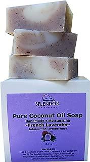 French Lavender - Natural Coconut Oil Bar Soap Handmade, Vegan, Moisturizing, for Eczema, Psoriasis and Dry Sensitive Skin. 3 Bars