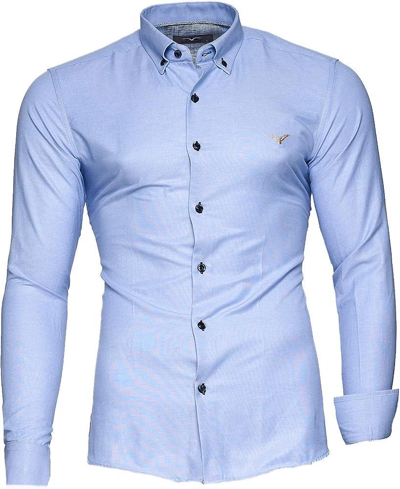 Kayhan originale  camicia slim fit maniche lunghe per uomo , 80% cotone, 20% poliestere A-Oxford-0016B