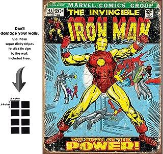 Shop72 Tin Sign Marvel Comic Series Ironman Superhero Metal Tin Sign Retro Vintage No Damage to Wall