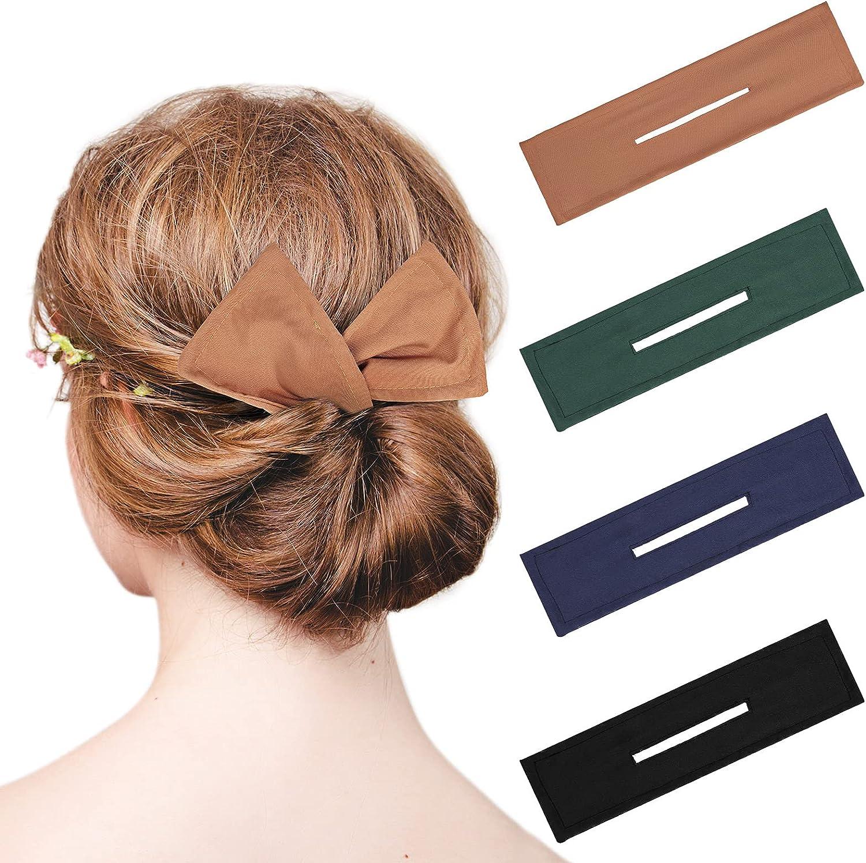 4 Fabricantes de Moño Hábiles Herramienta de Rosquillade Pelo Clip Mágico Torcedor de Peinado Francés Bandas Elásticas Reutilizables Flexibles para Mujer (Negro, Caqui, Verde, Azul Oscuro)