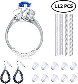 Set of 12 Ring Size Adjuster and 100 Silicone Earing Backs | 4 Sizes Ring Fitter - 2mm/ 3mm/ 4mm/ 5mm for Loose Rings | Clear Color Plastic Rubber Bullet Clutch Earring Safety Back Stopper
