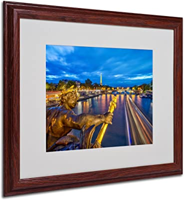 Alexander Bridge Paris Artwork by Mathieu Rivrin, 16 by 20-Inch, Wood Frame