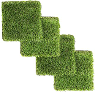 LULIND - Artificial Grass Square Tiles - 12.2 x 12.2 Inch (4 Pack)