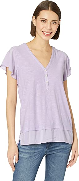 Flutter Cap Sleeve V-Neck Layered Top