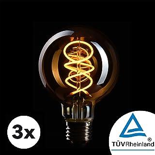 3x Bombilla Edison Crown LED base E27   Regulable, 4W, 2200 K, luz cálida, EL18   Iluminación de Filamento antiguo con apariencia retro vintage   Etiqueta Energética de la Unión Europea: A+