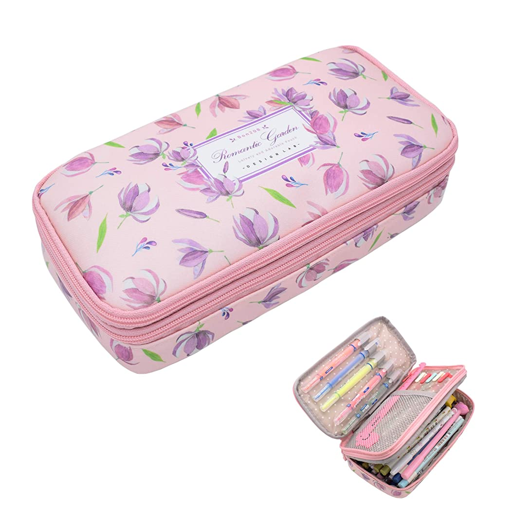 Twinkle Club Big Capacity Pencil Pen Case Bag Pouch Holder for Middle High School College Office Girl Storage Tulip