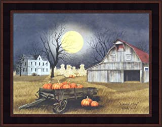 Home Cabin Décor Harvest Moon by Billy Jacobs 15x19 Primitive Farm Barn Pumpkins Full Moon Corn Shocks Wagon Framed Print Picture