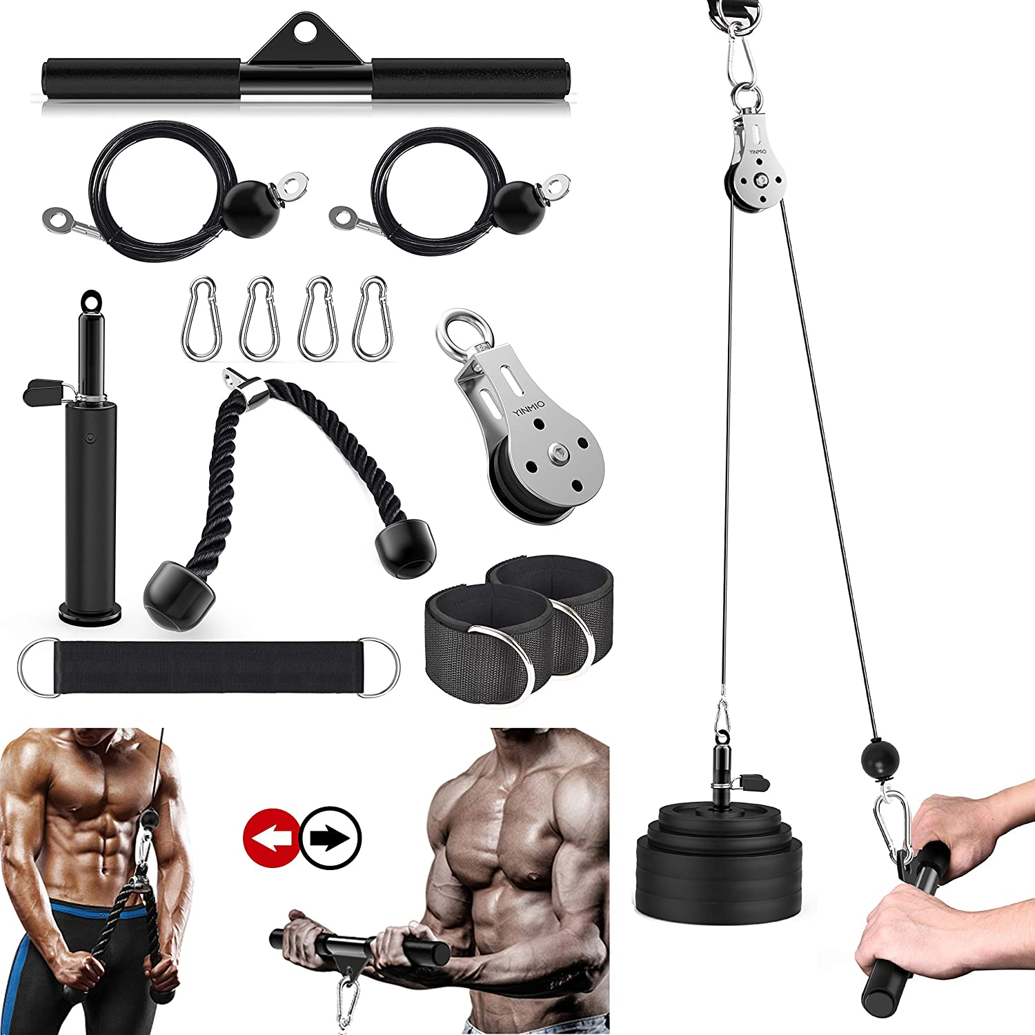 Cable Pulley, Triceps Pulley System for Arm Strength Training, (70'' and 90'') DIY Pulley Cable Attachment, Fitness LAT and Lift Pulley System, for Triceps Pull Down, Biceps Curl, Back, Forearm, Etc