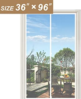 """White Screen Doors with Magnets 36 x 96, Heavy Duty Mosquito Door Net Fit Doors Size Up to 36""""W x 96""""H Keep Fly Bug Out"""