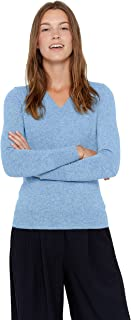 Essential V-Neck Sweater 100% Pure Cashmere Long Sleeve Pullover for Women
