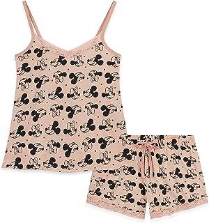 Disney Lounge Wear Womens Set, 100% Cotton Pyjamas Womens Shorts Set, Character Pajamas Ladies with Mickey Mouse and Minni...