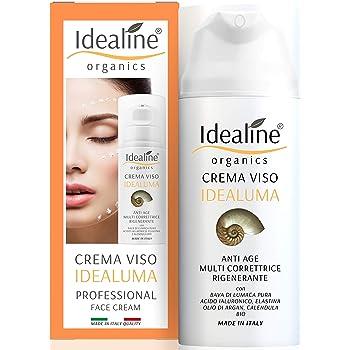 Crema Viso Bava di Lumaca Pura 100% e Acido Ialuronico Bio Crema Viso Antirughe Multi Correttrice 50ml Idealine