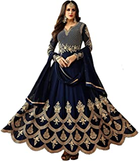 Nivah Fashion Women's Georgette Embroidered Anarkali Salwar Suit Material(Semi Stitched-G4-Free Size)